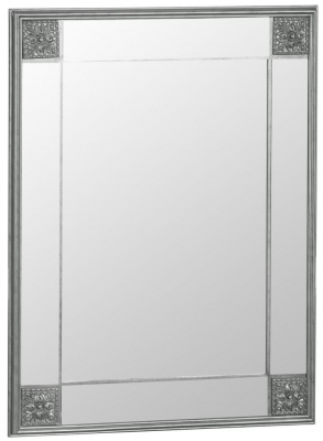 Silver Wooden Frame Rectangular Beveled Mirror - 115cm x 145cm