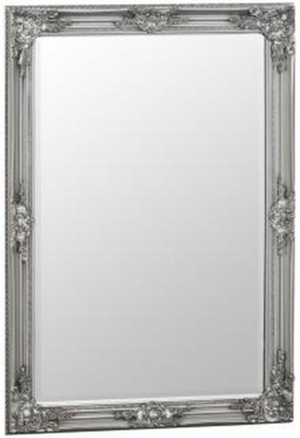Silver Wooden Frame Rectangular Beveled Mirror - 75cm x 105cm