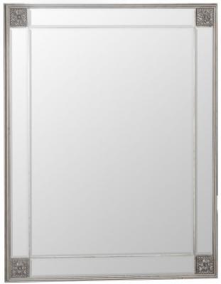 Silver Wooden Frame Rectangular Beveled Mirror - 80cm x 105cm