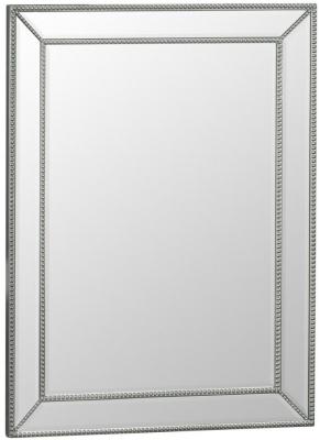 Silver Wooden Frame Beveled Mirror - 80cm x 105cm