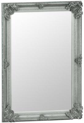 Silver Wooden Frame Rectangular Beveled Mirror - 80cm x 115cm