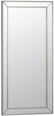 Silver Wooden Frame Rectangular Beveled Mirror - 80cm x 165cm