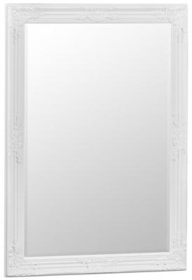 White Wooden Frame Rectangular Beveled Mirror - 75cm x 105cm