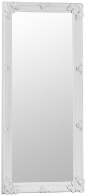 White Wooden Frame Rectangular Beveled Mirror - 80cm x 175cm