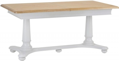 Annecy Oak and Soft Grey Painted 160cm Extending Dining Table