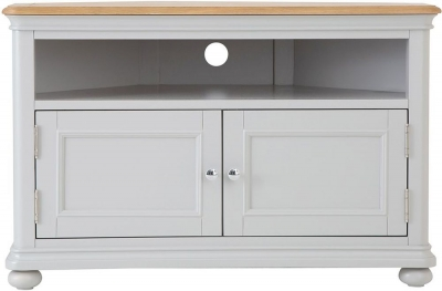 Annecy Oak and Soft Grey Painted 2 Door Corner TV Unit