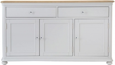Annecy Oak and Soft Grey Painted 3 Door 2 Drawer Sideboard