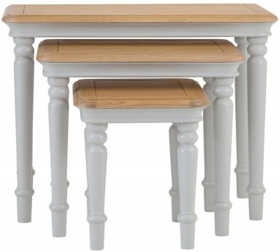 Annecy Oak and Soft Grey Painted Nest of Tables