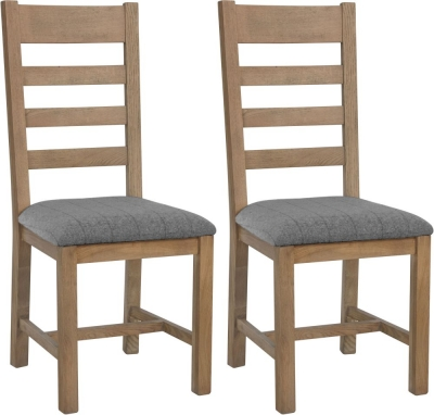 Hatton Oak Slatted Back Dining Chair with Grey Fabric Seat (Pair)