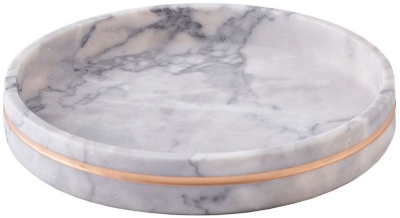 Surbiton White Marble and Brass Polished Tray
