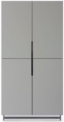 Alderton Grey Matt Lacquer and Black Chrome Wardrobe