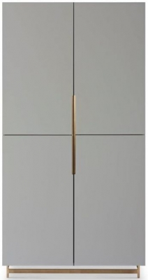 Alderton Grey Matt Lacquer and Brass Brushed Wardrobe