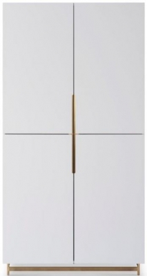 Alderton White Matt Lacquer and Brass Brushed Wardrobe