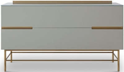 Alderton Grey Matt Lacquer and Brass Brushed 2 Drawer Low Sideboard