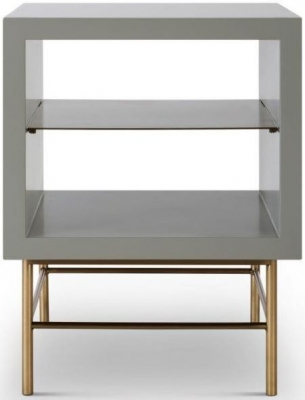 Alderton Grey Matt Lacquer and Brass Brushed Side Table