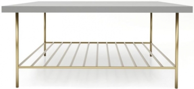 Alderton Grey Matt Lacquer and Brass Brushed Square Coffee Table