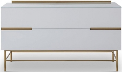 Alderton White Matt Lacquer and Brass Brushed 2 Drawer Low Sideboard