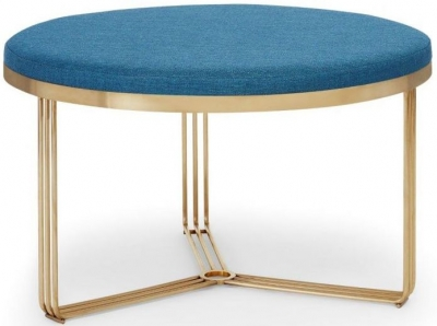 Floriston Admiral Blue Woven Fabric and Brass Brushed Round Footstool
