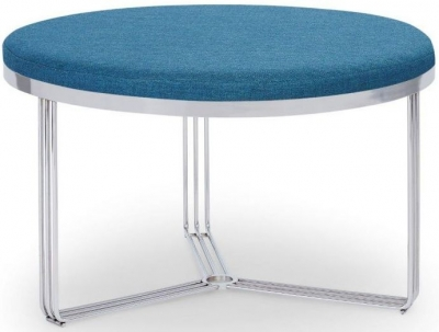 Floriston Admiral Blue Woven Fabric and Chrome Round Footstool
