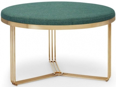 Floriston Conifer Green Woven Fabric and Brass Brushed Round Footstool