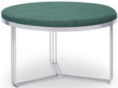 Floriston Conifer Green Woven Fabric and Chrome Round Footstool