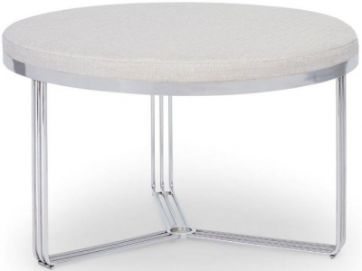 Floriston Natural Woven Fabric and Chrome Round Footstool
