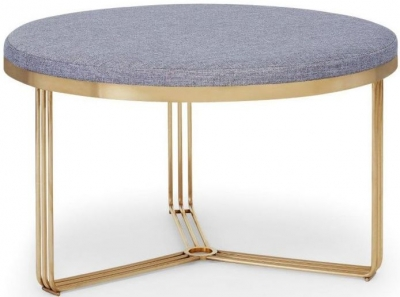 Floriston Pewter Woven Fabric and Brass Brushed Round Footstool