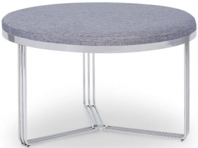Floriston Pewter Woven Fabric and Chrome Round Footstool