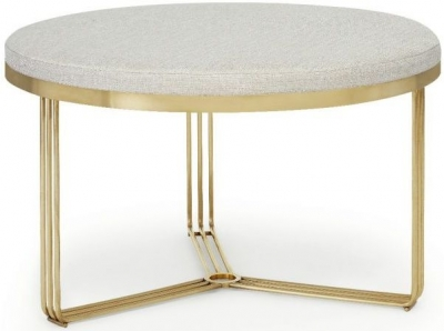 Floriston Silver Woven Fabric and Brass Brushed Round Footstool
