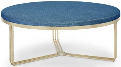 Floriston Admiral Blue Woven Fabric and Brass Brushed Large Round Footstool