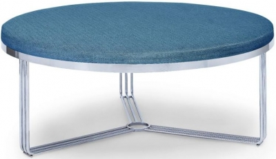 Floriston Admiral Blue Woven Fabric and Chrome Large Round Footstool