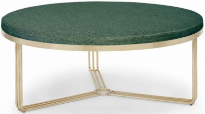 Floriston Conifer Green Woven Fabric and Brass Brushed Large Round Footstool