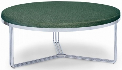 Floriston Conifer Green Woven Fabric and Chrome Large Round Footstool