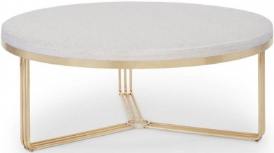 Floriston Natural Woven Fabric and Brass Brushed Large Round Footstool