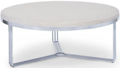 Floriston Natural Woven Fabric and Chrome Large Round Footstool