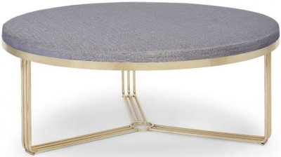 Floriston Pewter Woven Fabric and Brass Brushed Large Round Footstool