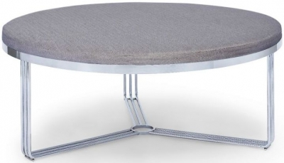 Floriston Pewter Woven Fabric and Chrome Large Round Footstool