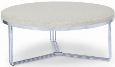 Floriston Silver Woven Fabric and Chrome Large Round Footstool