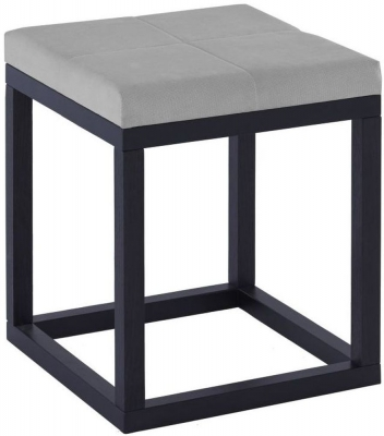 Islington Black Small Stool with Grey Cushion