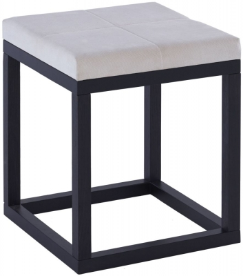 Islington Black Small Stool with Off White Cushion