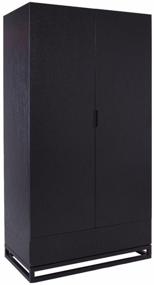 Islington Black 2 Door 1 Drawer Double Wardrobe