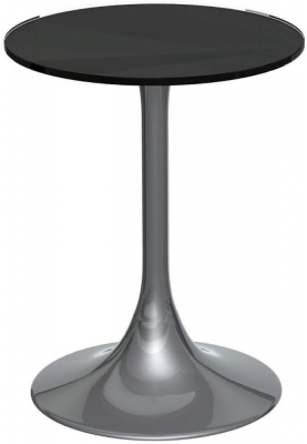 Notting Black Glass Top Round Side Table with Chrome Base