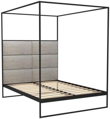 Regents Black Metal Canopy Frame Bed with Weathered Oak Headboard