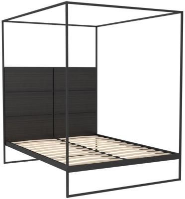 Regents Black Metal Canopy Frame Bed Frame with Wenge Headboard