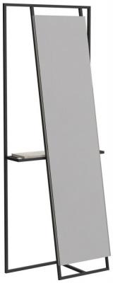Regents Black Metal Rectangular Floor Mirror and Valet with Weather Oak Accent