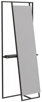 Regents Black Metal Rectangular Floor Mirror and Valet with Wenge Accent