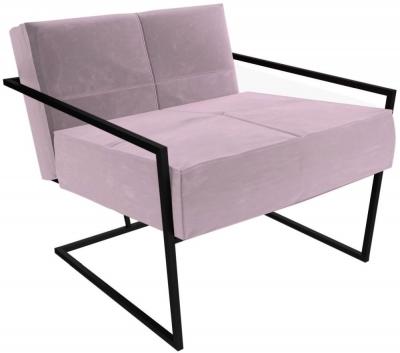 Regents Blush Velvet Armchair with Black Metal Frame