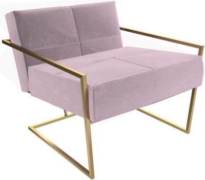 Regents Blush Velvet Armchair with Brass Brushed Frame