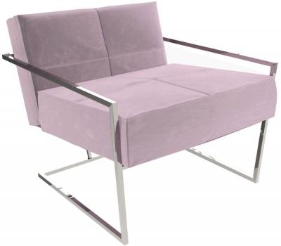 Regents Blush Velvet Armchair with Polished Chrome Frame