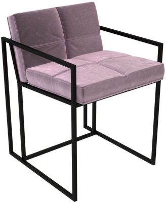 Regents Blush Velvet Chair with Black Metal Frame